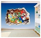 Gedruckter Vinyl-Aufkleber fürs Kinderzimmer, Super Mario