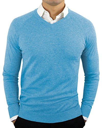 CC Perfect Slim Fit V Neck Sweaters for Men | Lightweight Breathable Mens Sweater | Soft Fitted V-Neck Pullover for Men Ethereal Blue