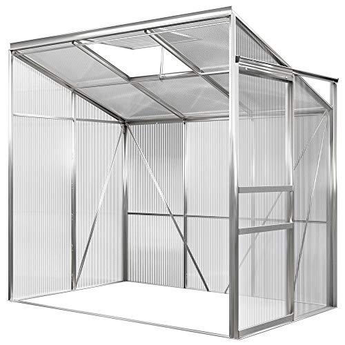 Deuba Beistell Aluminium Gewächshaus | 3,65m³ | 192x127cm | Treibhaus Gartenhaus Frühbeet Pflanzenhaus Aufzucht