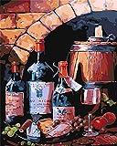 XDRESZ Pintura por Números para Adultos DIY Pintura Al Óleo Kit con Pinceles Y Pinturas para Niños -Fruta De Vino Tinto 16X20 Inch