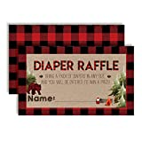 """Oh Boy! Outdoorsy Red and Black Plaid Lumberjack Diaper Raffle Tickets for Boy Baby Showers, 20 2"""" X 3"""" Double Sided Insert Cards for Games by AmandaCreation, Bring a Pack of Diapers to Win Favors & P"""