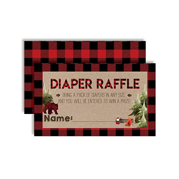 """Oh Boy! Outdoorsy Red and Black Plaid Lumberjack Diaper Raffle Tickets for Boy Baby Showers, 20 2″ X 3"""" Double Sided Insert Cards for Games by AmandaCreation, Bring a Pack of Diapers to Win Favors & P"""