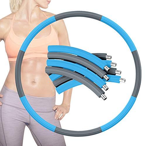 Gkodeamig Hoop Reifen Erwachsene, Weighted Exercise Hoop zur Gewichtsabnahme und Massage, 1,2 kg Reifen Hoop für Fitness Stabiler Edelstahlkern mit Premium Schaumstoff Abnehmbarer (Grau+Blau-2)