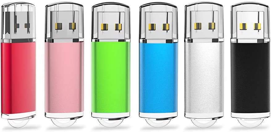 KEATHY 6 Pack 4GB USB Flash Drive USB 2.0 Thumb Drive Memory Stick Jump Drive Pen Drive - Black/Red/Blue/Silver/Green/Gold (4GB, 6 Mixed Color)