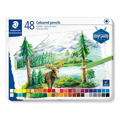 STAEDTLER 146C M48 - DESIGN JOURNEY Lápices de colores con mina blanda, alta pigmentación, forma hexagonal clásica, Estuche metálico con 48 lápices en colores intensos. Colores surtidos.