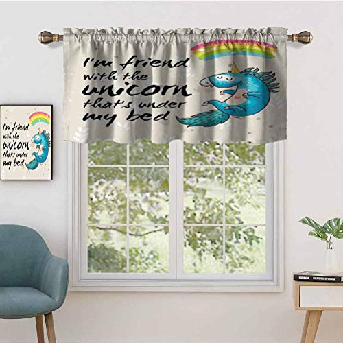 Hiiiman Short Curtains Valance Privacy Protection Unicorn Dreaming with Rainbow Magical Myst Epic Creature Pony, Set of 1, 54'x18' Window Drapes for Bathroom Kitchen Living Room