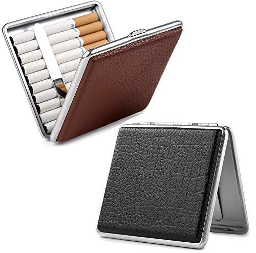2 X Männer Zigarettenetui - hochwertigem Metall/PU Leder Zigarettenschachtel pu Leder Cigarette Case für 20 Zigaretten Schwarz und Brown