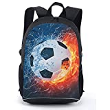 CAIWEI 17 Inch American Football Backpack School Bag (Burning Football 2)