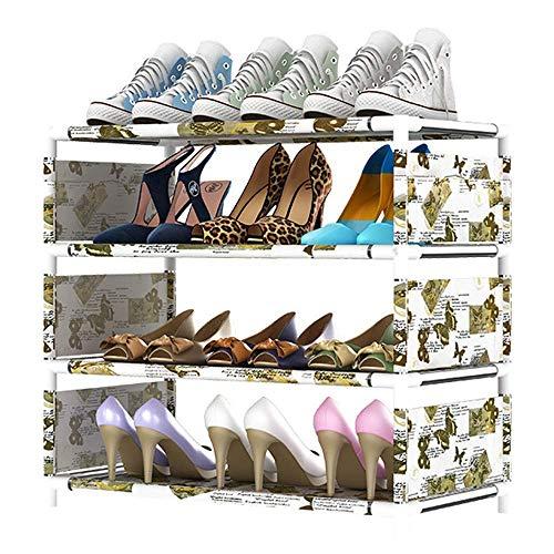 Zapatero Estante para Zapatos para el hogar 3-7 Niveles Extensible y apilable Montaje rápido Estante de Almacenamiento para Dormitorio Estante para Acabados Que Ahorra Espacio Verde 6