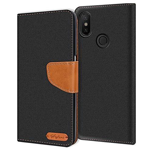 Verco kompatibel mit Xiaomi Mi A2 Lite Hülle, Schutzhülle für Mi A2 Lite Tasche Denim Textil Book Case Flip Case - Klapphülle Schwarz