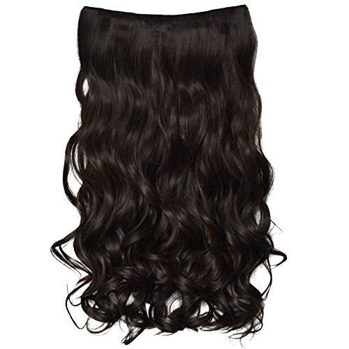 """REECHO 20"""" 1-pack 3/4 Full Head Curly Wave Clips in on Synthetic Hair Extensions Hair pieces for Women 5 Clips 4.6 Oz Per Piece - Deep Brown"""