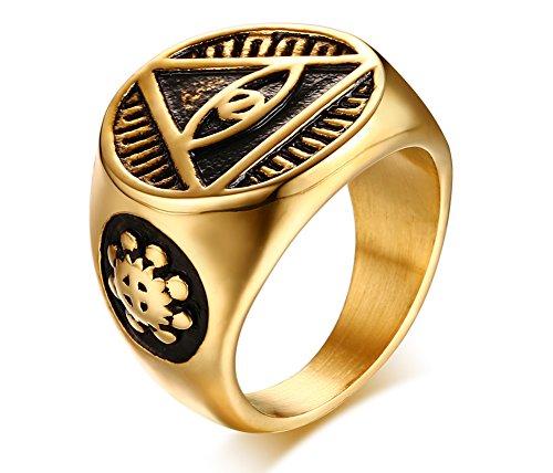 Vnox Triangolo in Acciaio Inossidabile degli Uomini Tutti vedendo l'occhio di Dio Anello di Fascia del Segnale Anello Retro Egiziano