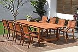 Amazonia Arizona 9-Piece Patio Rectangular Extendable Dining Table Set | Eucalyptus Wood | Ideal for Outdoors and Indoors