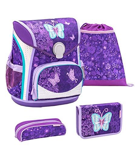 Belmil ergonomischer Schulranzen Set 4 -teilig für Mädchen 1-4 Klasse Grundschule/mit Brustgurt, Hüftgurt/Magnetverschluss/Schmetterling/Lila (405-42 Purple Butterfly)