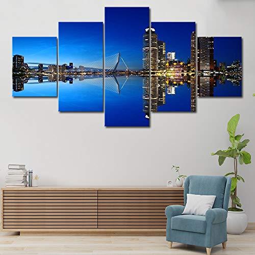 tong99 Rotterdam Nederlandse stad landschap poster 5 panelen linnen schilderij muurkunst afbeelding afdrukken woonkamer decoratie L-30x40 30x60 30x80cm Frame