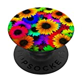 Sunflower Pop socket Colorful Flowers Floral Yellow Blue Red PopSockets Grip and Stand for Phones and Tablets