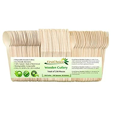 First Choice FDA Approved Disposable Wooden Cutlery Sets - 250 Piece Total: 100 Forks, 100 Spoons, 50 Knives, 6  Length Eco Friendly Biodegradable Compostable Wooden Utensils Wooden Cutlery By
