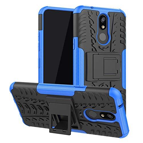 LFDZ LG K40 Funda, Soporte Cáscara de Doble Capa de Cubierta Protectora Heavy Duty Silicona híbrida Caso Funda para LG K40 / K12 Plus Smartphone,Azul