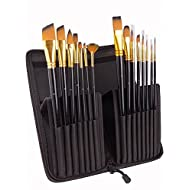 Fuumuui Artist Paint Brush Set -15Pcs Paint Brushes Includes Pop-up Carrying Case,for Acrylic, Oil, Watercolor, Creative Body Paint, Decorating and Gouache Painting