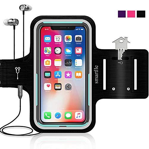 Smartlle Sportarmband Handy Joggen kompatibel mit iPhone 11/11 Pro/XR/XS/8/7/6/6s/SE & Samsung Galaxy S20/S10/S9/A, Xiaomi, Bis Zu 6.1'', Running, Workout Laufen Armband - Handyhalter Case(schwarz)