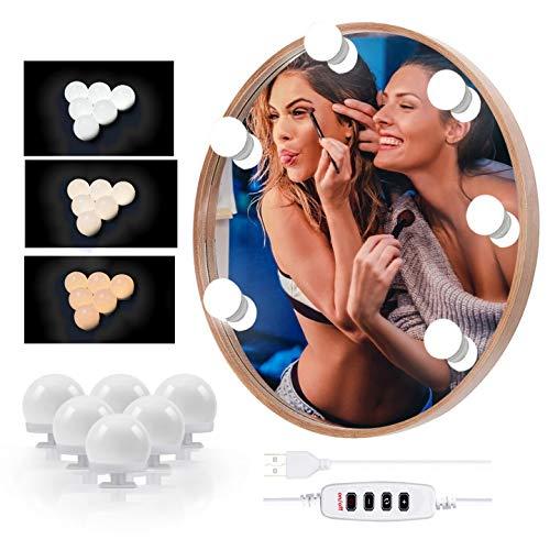 LED Spiegelleuchte - Hollywood Stil Spiegellampen für das Bad, USB Spiegel Licht mit 10 Dimmbarer und 3 Einstellbarem Farbmodus, 6 Glühbirnen Schminktisch/Badzimmer Spiegel