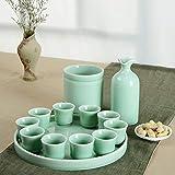 Liergou Conjunto De Sake Calentar Jug Conjunto del Motivo de Estilo japonés jarro de cerámica dispensador de Vino pequeña Taza del Vino Espíritu de Cristal (Color : Verde, Size : A Pot of 10 Cups)