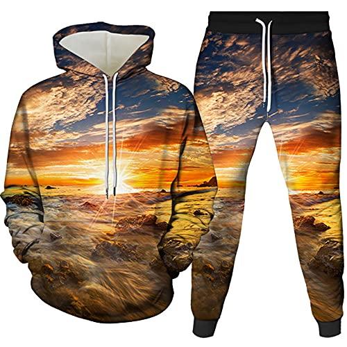 Sudaderas con Capucha Paisaje Creativo Unisex Traje Casual De 2 Piezas Jersey para Hombre Suéter Ropa para Jóvenes Abrigo Cómodo Y Transpirable Mezcla De Colores 1 XL