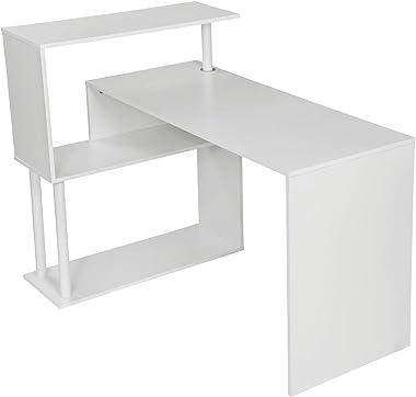 WOLTU TS108ws Table de Bureau Table de Travail PC Table d'ordinateur avec étagères latérales,en MDF et Acier,Blanc 120x80