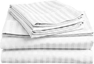 Lux Decor Collection Bed Sheet Set - Brushed Microfiber 1800 Bedding - Wrinkle, Stain and Fade Resistant - Hypoallergenic - 4 Piece (Queen, Striped White)