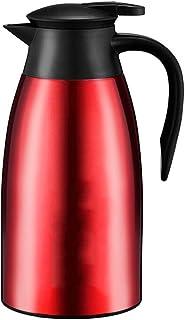 304ステンレス鋼二重壁真空断熱デカンタ サーマルデカンタ、ふた付きウォーターピッチャー、コーヒーポット、サービングピッチャー、コーヒー魔法瓶、2リットル、エレガントなレッド