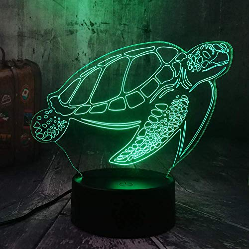 Lámpara de ilusión 3D Luz de noche LED Océano Animal Tortuga de natación Chelonia Mydas Tortuga de mar Lámpara de escritorio Fiesta Decoración para el hogar Juguete para niños Navidad