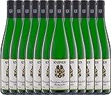 VINELLO 12er Weinpaket Weißwein - Laumersheimer Kapellenberg Riesling 2019 - Knipser mit Weinausgießer | trockener Weißwein | deutscher Wein aus der Pfalz | 12 x 0,75 Liter