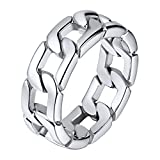 U7 Stainless Steel 7mm Wide Band Cuban Link Chain Ring, Size 7