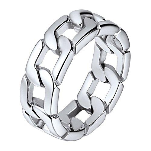 Joyería para hombres anillos de eslabones acero inoxidable tono plata anillo simple básico de dedos talla 10