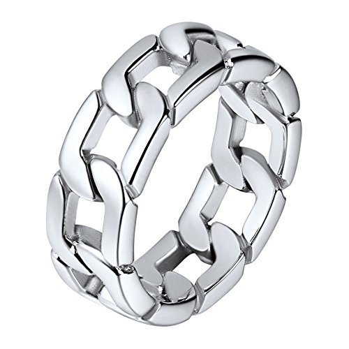 U7 Herren Ringe Panzerkette Design Edelstahl Ring Massiv Biker Hochglanzpoliert Bandring Hip Hop Ringe für Männer(64)