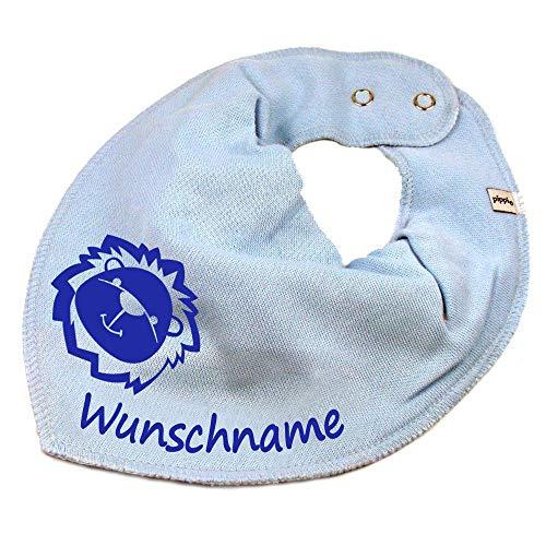 Elefantasie Elefantasie HALSTUCH Löwe mit Namen oder Text personalisiert hellblau für Baby oder Kind