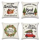 Sunshine smile Weihnachten Kissenbezug 4 Pack,Weihnachten Kissenbezug dekokissen,Weihnachten...