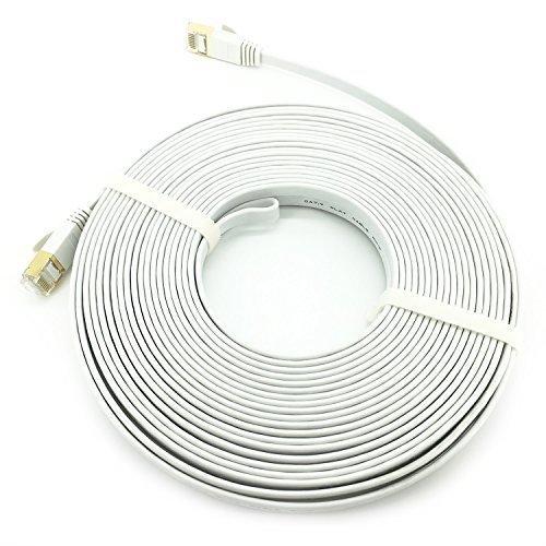 Jevit Cat7 Ethernet Cable Flat Network Patch Cord RJ45 Connectors White