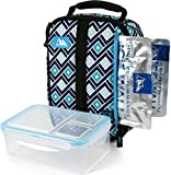 Arctic Zone Upright Box with 2x 140g High Performance Ice Walls and 2 Piece Leak Proof Food Container - Tabatha Diamonds, Blue