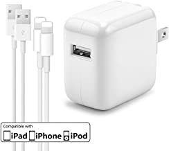 12W USB Charger for iPad, AISINI 2.4A 12W USB Wall Charger Foldable Portable Travel Plug and 2 Pack Fast Charging Cable (3FT) Compatible with iPhone, iPad