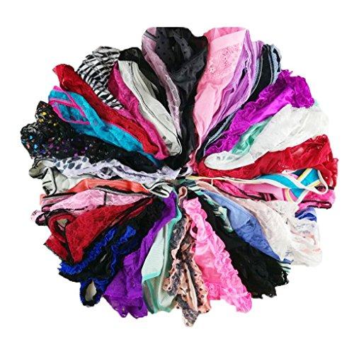 jooniyaa Women Variety of Underwear Pack T-Back Thong G-String Panties,L,10pcs
