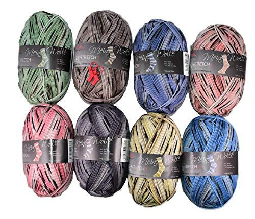 12fadenline 8x Pro Lana Eiswelt Sockenwolle 100g - die Innovation bei Sockenwolle - 4facher Faden mit 7% Elité (Strech) Anteil - perfekte Passform bei selbstgestrickten Socken!- incl. 2 Maschenzählern