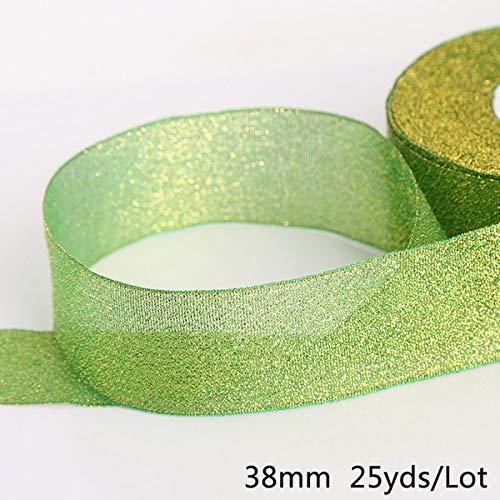 KTUCN Ribbon Silk Satin Roll - 25 Yards 38mm Breedte kleurrijke glitter lint geschenkverpakking riem bruiloft Kerst versiering weven naaien Accessoires, Donkergroen