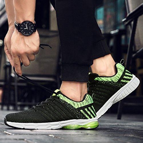 ZapatillasRunningpara Hombre Aire Libre y Deporte Transpirables Casual Zapatos Gimnasio Correr Sneakers Verde 43