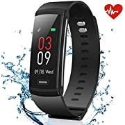 AKASO Fitness Armband Tracker Pulsmesser, Wasserdicht Aktivitätstracker Uhr mit Farbbildschirm Herzfrequenzmessung, Schrittzähler, Kalorienzähler, Schlafanalyse, Physiologische Erinnerung (Schwarz)