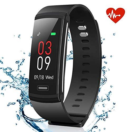 AKASO Fitness Armband Tracker Pulsmesser, Wasserdicht IP67 Aktivitätstracker Uhr mit Farbbildschirm Herzfrequenzmessung, Schrittzähler, Kalorienzähler, Schlafanalyse, Physiologische Erinnerung