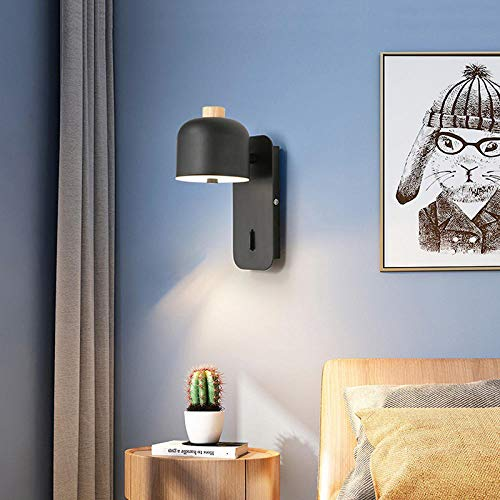 Drreny Retro Loft Light Slaapkamer, woonkamer, gang nacht slaapkamer, wandlamp, kantoor, stuty, restaurant, gang, cafélicht, wandlamp, bh, zwart, 7 W, warmwit, geen lichtbron