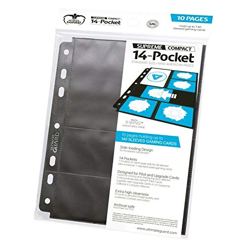 10 Pack Ultimate Guard Black 14 Pocket Standard Size + Mini American Compact Pages Card Storage Binder Portfolio Pages