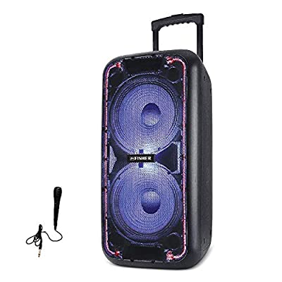 Fisher FBX2109 Double 10-Inch DJ Wireless Speaker System w/Wired Mix, Remote Control, Guitar Inputs, Colorful Lights, Bluetooth