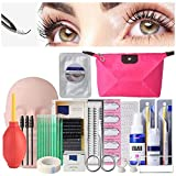 EBANKU 19PCS False Eyelashes Extension Practice Exercise Set, Mannequin Training Makeup False Eyelashes Extension Glue Tool Practice Kit With Bag For Makeup Practice Eye Lashes Graft